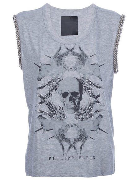 t-shirt grey t-shirt grey philip plein exact the same skull unicorn