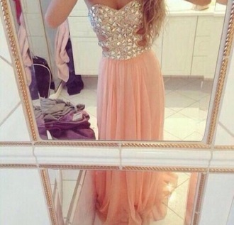 dress jewels baby pink cut out sides long prom dress