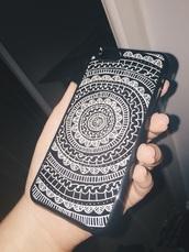 phone cover,aztec,black,white,doodles