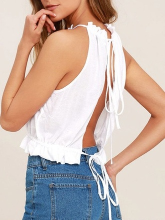 blouse girly white white top crop tops backless summer summer top