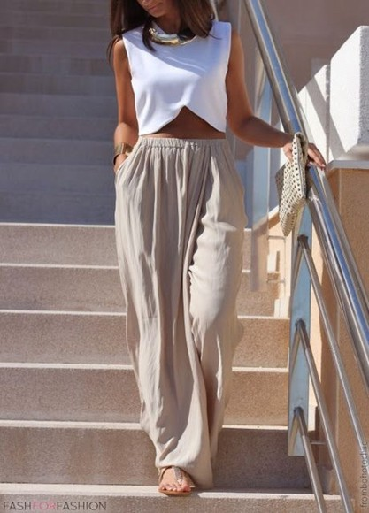 blouse pants white top crop tops fashion white crop top shirt croptop