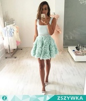 dress,cocktail dress,prom dress,floral,flowers,mint,mini dress,belt,sparkle,rose,roses