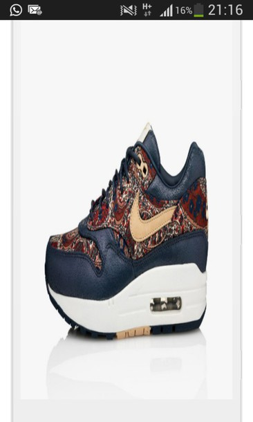 online store e085d 385c1 ... store shoes nike air max 1 liberty of london og qs trainers voor dame  marine blauw real women ...