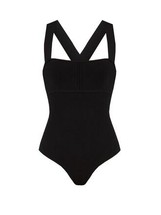 bodysuit cross back black underwear