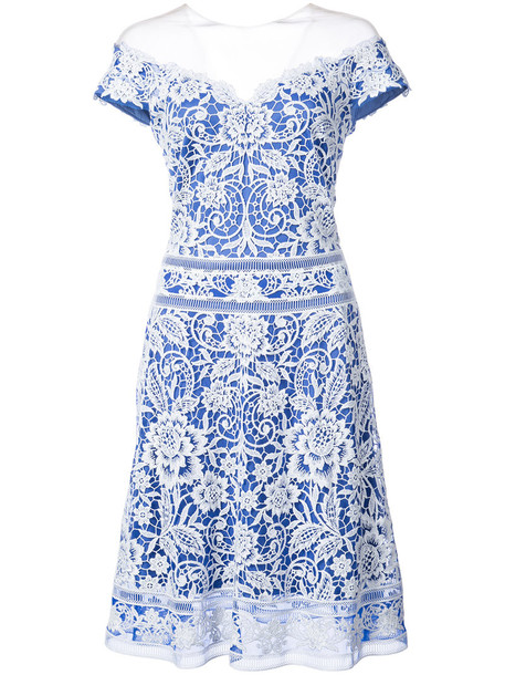 Tadashi Shoji dress women lace white cotton crochet