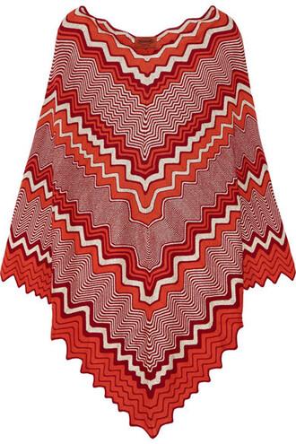 poncho knit metallic crochet orange top