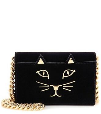 bag purse shoulder bag velvet black