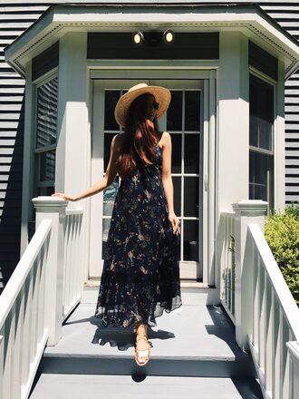 dress hat tumblr navy navy dress floral floral dress sandals flat sandals sun hat shoes