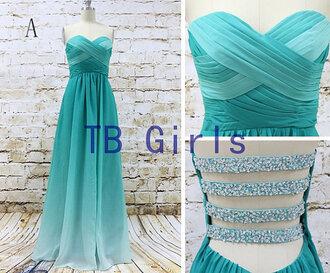 dress prom dress gradient color prom dress long bridesmaid dress aqua prom dresses sexy prom dress
