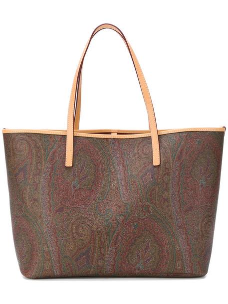 ETRO women leather cotton print brown paisley bag
