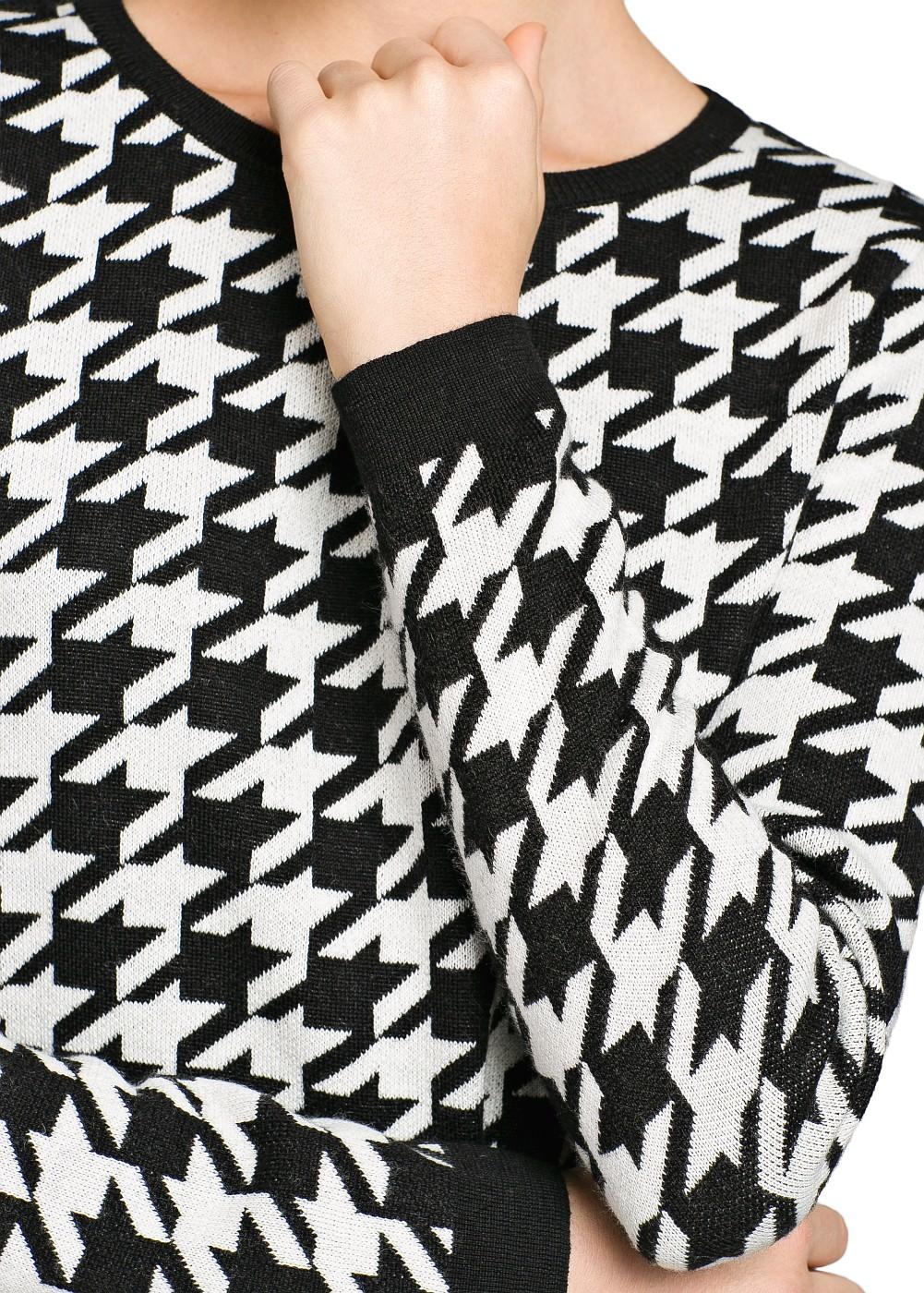 Houndstooth wool-blend sweater - Women - MANGO