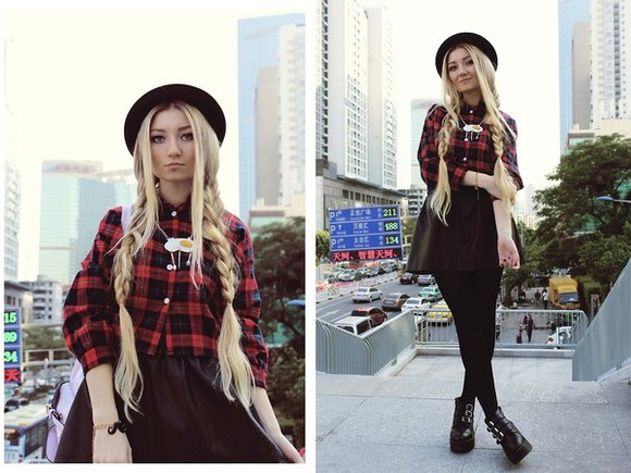 shirt skirt jewels shoes tights tartan shirt hat leather skirt boots necklace bracelet belarus anita kurkach