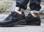 jeans,sneakers,shoes,nike air max 90,black sneakers