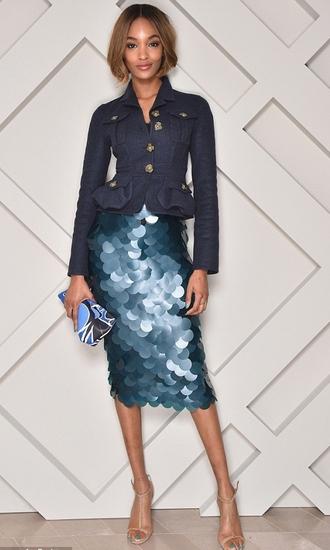 skirt jourdan dunn pencil skirt sequins mermaid burberry