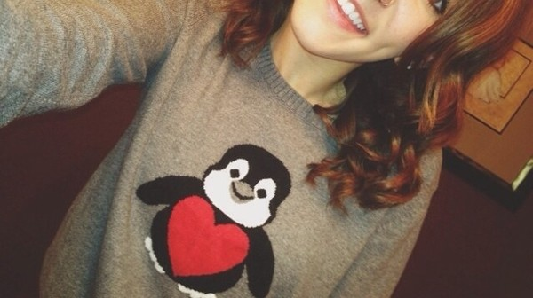 sweater penguin heart heart sweater