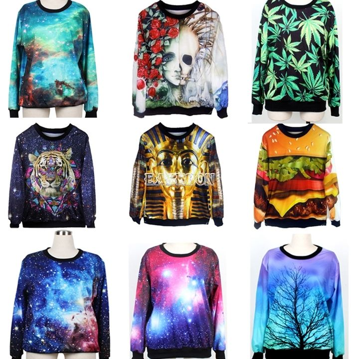 Womens Mens Space Galaxy Animal hoodie T shirt sweater Sweatshirt Pullover Top | eBay