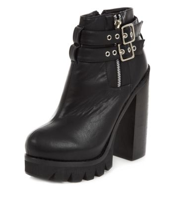 Black Buckle Chunky Heel Ankle Boots