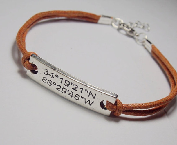 latitude custom coordinate jewelry bangle silver longitude gift coordinates gps bracelet