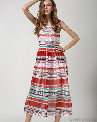 dress bohemian dress chiffon dress striped dress colorful