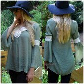 top,crochet,boho,boho chic,bohemian,bell sleeves,fall trend,trendy,tunic,olive lace,olive green,olive lace tunic