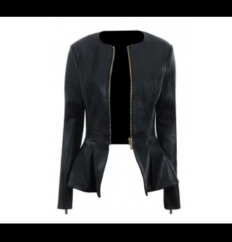 jacket black peplum leather jacket leather want it in pounds zip