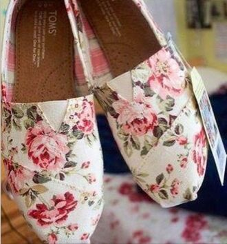 shoes toms floral flowers flats