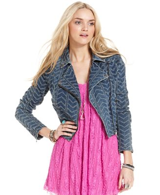 Free People Jacket, Zigzag Striped Denim Motorcycle - Jackets & Blazers - Women - Macy's