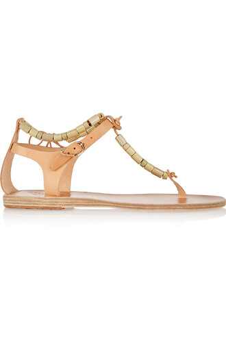 beaded sandals leather sandals leather beige shoes