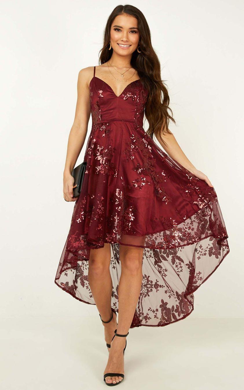 Showpo Fair Shake Dress in wine sequin - 4 (XXS) Curve & Plus Size