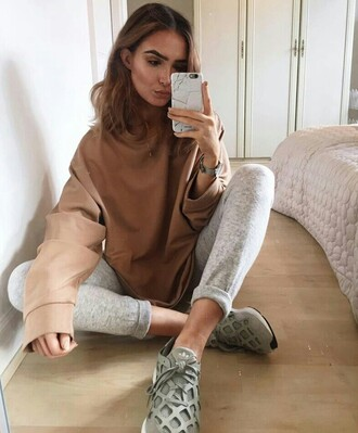 sweater on point clothing nude camel grey adidas adidas shoes oversized oversized sweater marble phone cover marble phone case casual tomboy edgy chill urban fall outfits sporty cool girl style fashion minimalist shoes leggings joggers