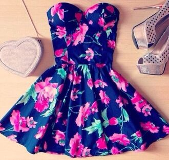 floral dress navy blue dress want want want!