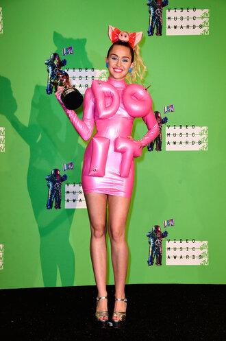 dress latex miley cyrus vma pink pink dress sandals