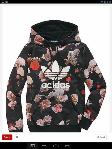 flower pattern hoodie sweater