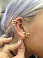jewels,gold,earrings,claw,unicorn,helix piercing,purple hair,jewelry,ear,ring,piercing,gold piercing