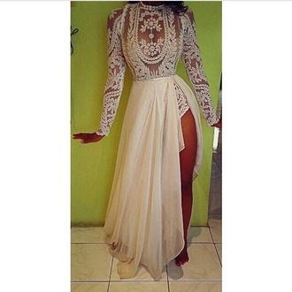dress lace dress mesh embroidered white cream maxi leg spilt wedding