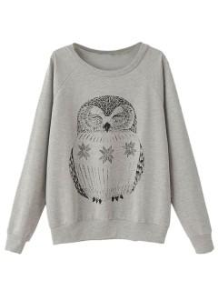 Gray sweatshirt with owl pattern