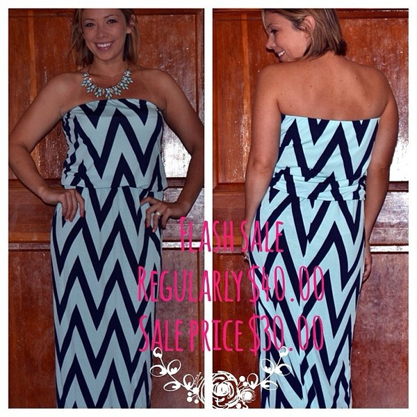 dress chevron blue maxi dress