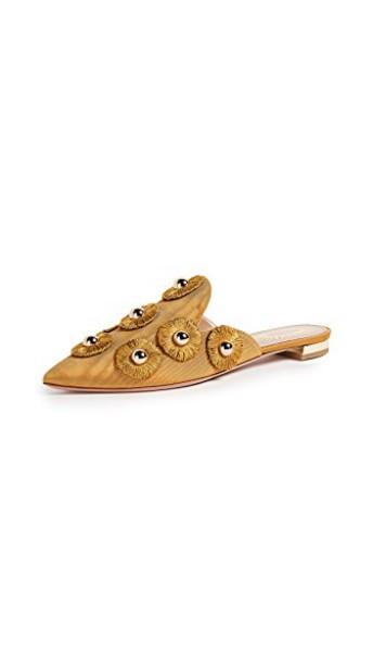 Aquazzura sunflower flats gold shoes