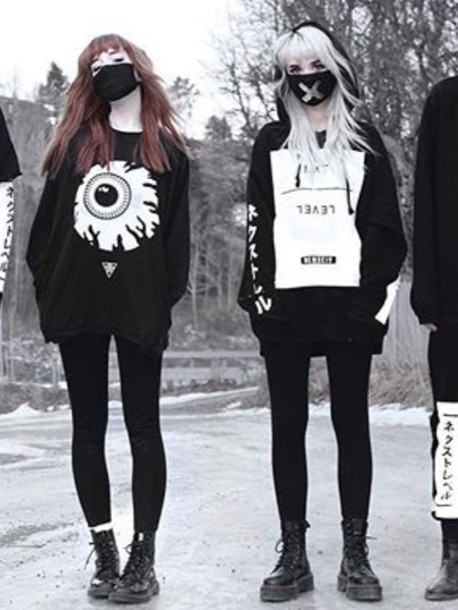 Sweater Goth Japanese Streets Black And White Nu Goth