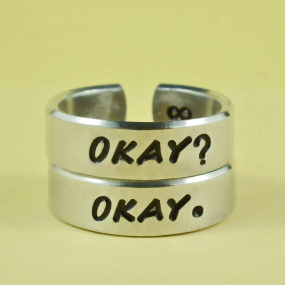 OKAY? OKAY. Ring Set, Hand Stamped Aluminum Ring
