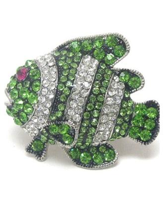 jewels crystal quartz bling stretch ring fish