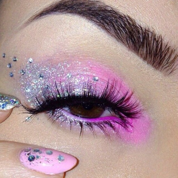 make-up sparkly make up pink eyeshadow