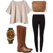 blouse,boots,watch,creme,bag,riding boots,eyelet,tory burch,shoes,shirt,t-shirt,cream,lace,holes,this whole outfit