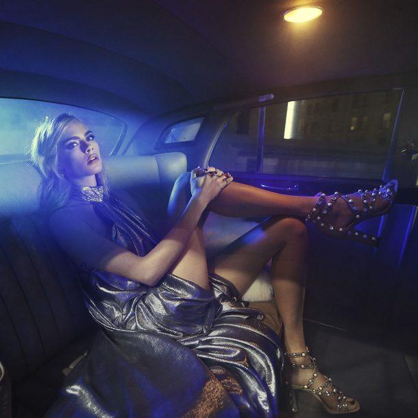 shoes dress metallic editorial cara delevingne
