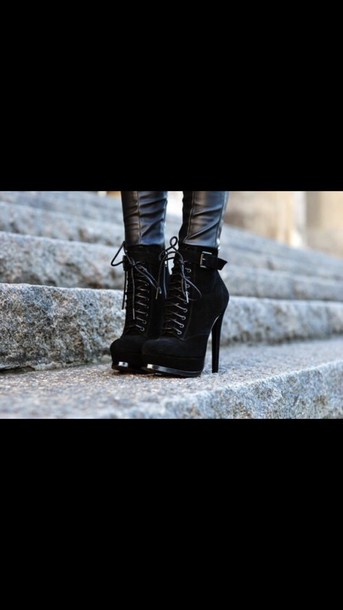 shoes boots heel boots black boots strappy heels platform lace up boots