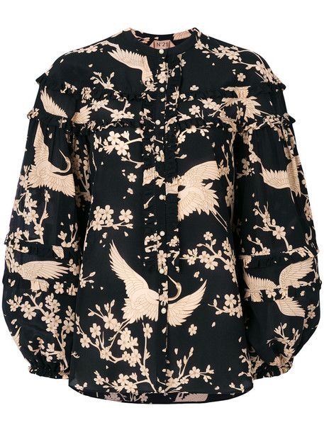 blouse ruffle women print black silk top