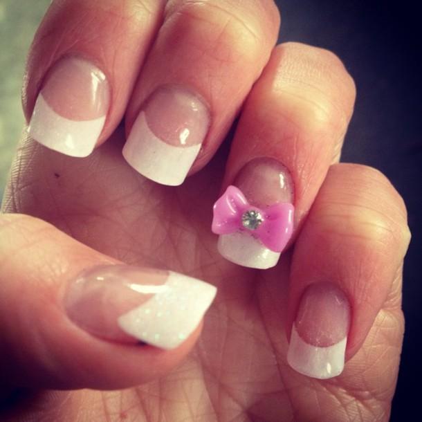 White Manicured Nails Nail Polish White Purple Nails