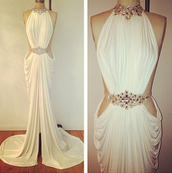 dress,white dress,evening dress,roman style,jewels,high neck,jewel belt,formal dress,white formal dress,leg split,slit dress,prom dress,long,white,white prom dress,long evening dress,long prom dress,backless dress,classy,white cut-out dress,embellished,elegant,prom,ball,ball gown dress,sexy dress,evening outfits,stained,glamour,glamour charme,queen,michael costello design?,party dress,sexy,fashion,wedding clothes,wedding dress,chiffon,lace,greek goddess,long dress,fancy dress,cute dress,swarovski,elements,cream dress,dimonds,clothes,formal,gown,formal event outfit,graduation dresses,tumblr,tumblr dress,coat,stunnning,prom gown,white beaded aline dress,beautiful,unique style