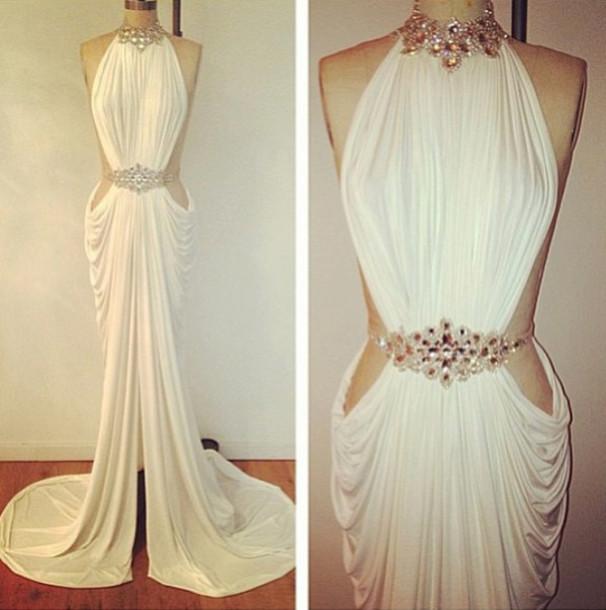 Dress: white dress, evening dress, roman style, jewels ...