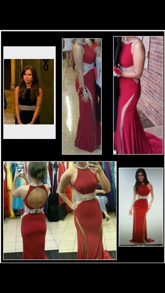 dress long  sequence  open backl red prom dress
